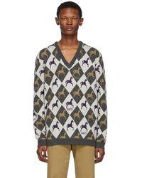 Gucci ベージュ And グレー ホース ジャカード ニット セーター