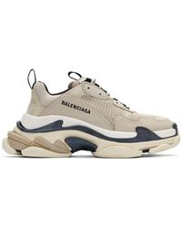 Balenciaga Triple S Stone Mesh And Leather Sneakers - Natural