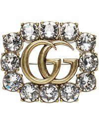 Gucci ゴールド クリスタル GG Marmont ブローチ - メタリック