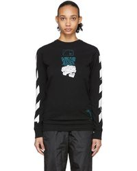 Off-White c/o Virgil Abloh Black Dripping Arrows Long Sleeve T-shirt