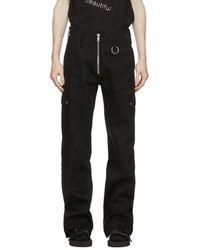 Sankuanz Black Exposed Zipper Cargo Pants