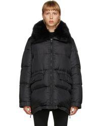 Army by Yves Salomon Black Down Lamb Fur Jacket