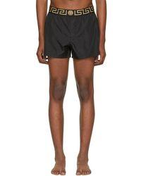 Versace - Black Short Greek Key Medusa Swim Shorts - Lyst