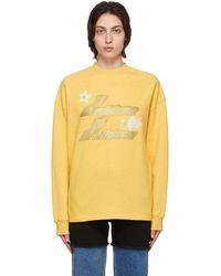 we11done Logo Print Long Sleeve T-shirt - Yellow