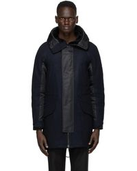 Army by Yves Salomon Navy And Black Wool Parka
