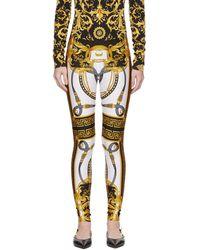 Versace White And Black Rodeo Barocco Leggings - Multicolor