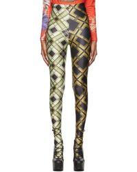 Chopova Lowena Legging à deux motifs argyle imprimés - Vert