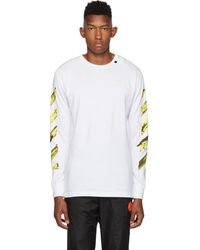 Off-White c/o Virgil Abloh Ssense Exclusive White And Yellow Acrylic Arrows Long Sleeve T-shirt