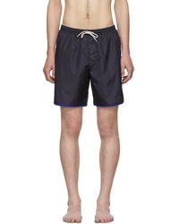 Gucci Navy Logo Stripe Swim Shorts - Blue