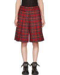 R13 - Red Tartan Pleated Midi Shorts - Lyst