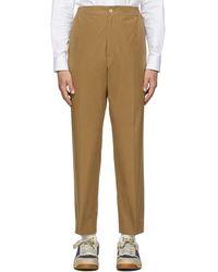 Gucci Khaki Cotton Poplin Label Pants - Natural