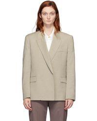 Low Classic Blazer en laine beige Double - Neutre