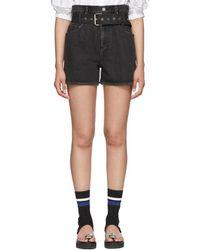 3.1 Phillip Lim - Black Denim Belted Paper Bag Shorts - Lyst