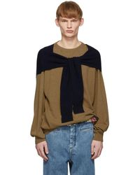 Loewe - Beige And Navy Cashmere Shoulder Sleeve Sweater - Lyst