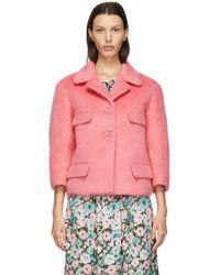 Marc Jacobs Blouson droit en laine rose