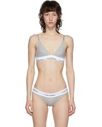 Calvin Klein - グレー And ホワイト Modern トライアングル ブラレット - Lyst