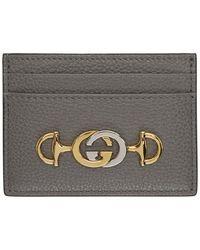 Gucci Zumi Grainy Card Case - Grey