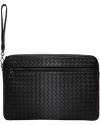 Bottega Veneta | Black Intrecciato Galaxy Front Zip Pouch | Lyst