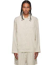 Tekla White & Brown Poplin Striped Pyjama Shirt