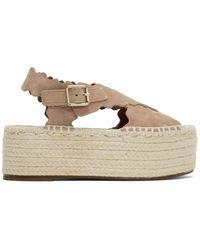 Chloé - Pink Suede Espadrilles Flat Sandals - Lyst