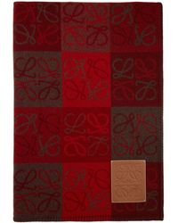 Loewe Burgundy Wool Anagram Blanket - Red