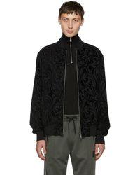 Versace - Black Jacquard Brocade Bomber Jacket - Lyst