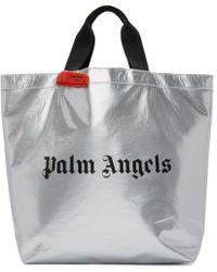 Palm Angels シルバー ロゴ ショッパー トート - メタリック