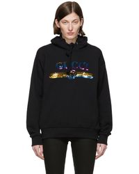9762c1fc940 Gucci - Black Sequin Logo Hoodie - Lyst