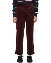 Noah Burgundy Corduroy Double-pleat Trousers - Purple