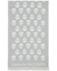 Alexander McQueen Foulard gris et blanc Skull