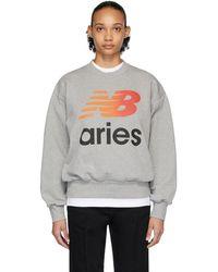 Aries Gray New Balance Edition Logo Sweatshirt