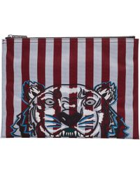 KENZO | Burgundy And Blue Striped Tiger A4 Pouch | Lyst