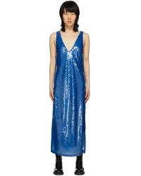 Eckhaus Latta ブルー シークイン ドレス