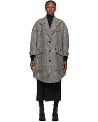 MM6 by Maison Martin Margiela ブラック And ホワイト オーバーサイズ ウール シェトランド コート