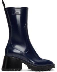 Chloé Navy Pvc Betty Rain Boots - Blue