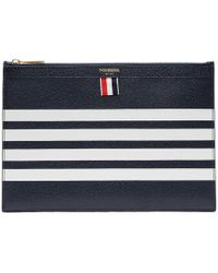 Thom Browne - Navy Small Four Bar Zipper Tablet Holder - Lyst