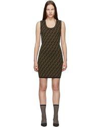 Fendi Black And Brown Knit Forever Dress