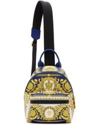 Versace Blue Leather Barocco Backpack
