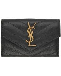 Saint Laurent Grey Small Monogramme Envelope Wallet