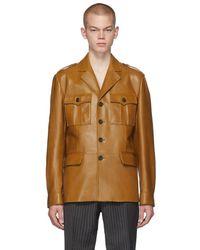Prada Tan Leather Field Jacket - Brown