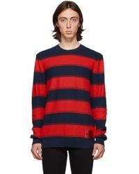 HUGO ネイビー And レッド ストライプ Sanor セーター - ブルー