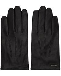 BOSS Lined Gloves In Nappa Leather With Stitched Details - Black