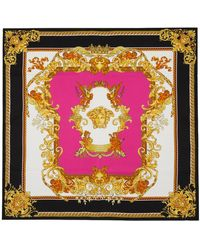 Versace ピンク & ブラック Medusa Renaissance スカーフ