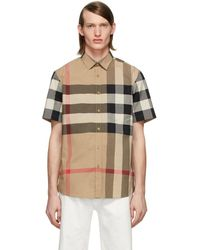 Burberry Chemise a manches courtes beige IP Check Windsor - Neutre
