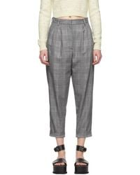 MM6 by Maison Martin Margiela - Black Houndstooth Cuffed Trousers - Lyst