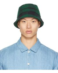 YMC Black & Green Check Bucket Hat - Blue