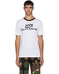 Dolce & Gabbana ホワイト フロック ロゴ T シャツ
