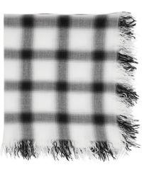 Attachment - Foulard a carreaux en rayonne et soie blanc et noir - Lyst 389ad5b087f