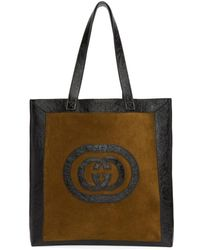 Gucci - Brown And Black Large Suede Ophidia Tote - Lyst