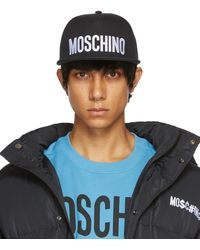 Moschino ブラック ロゴ スナップバック キャップ